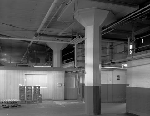 Factory interior-mushroom capitals